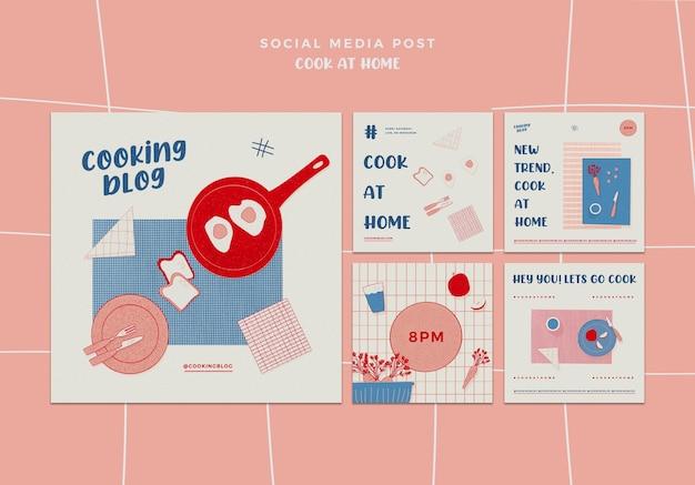 Cozinhar em casa postagens de mídia social