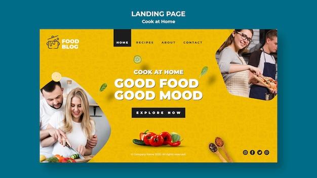 Cozinhe em casa design da página de destino