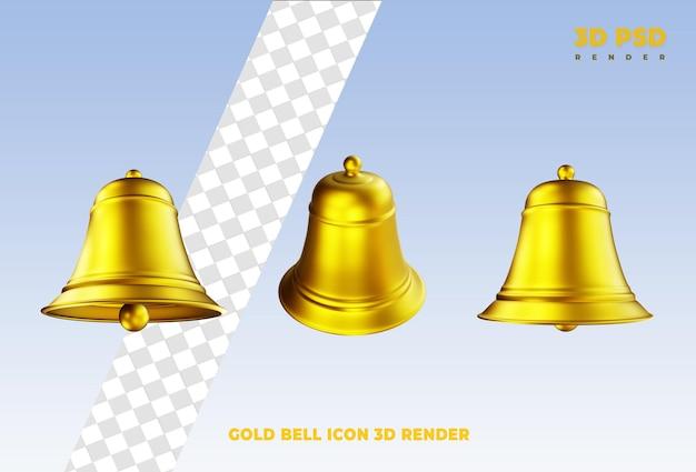 Crachá de ícone de renderização 3d de notificação de sino dourado
