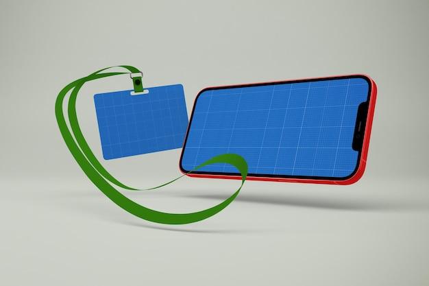 Crachá e maquete de telefone