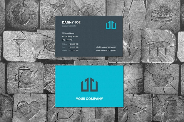 Crafting wood surface vertical businesscard mockup