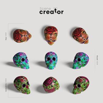 Crânio colorido variedade de ângulos criador de cena de halloween