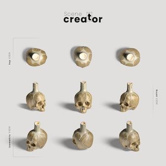 Crânio com variedade de velas de ângulos criador de cena de halloween