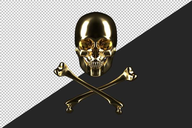 Crânio humano dourado com ossos cruzados
