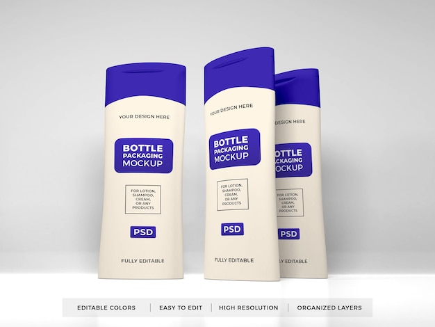 Creme de loção realista e maquete de frasco de shampoo