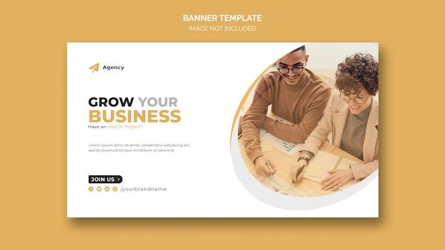 Crescer modelo de banner da web de marketing de negócios