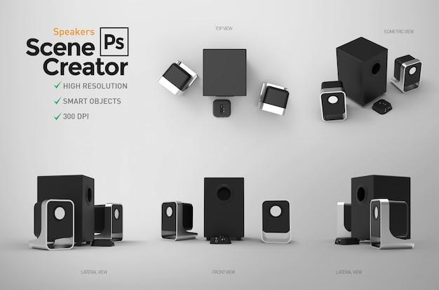 Criador de cena. caixas de som. elementos separados.