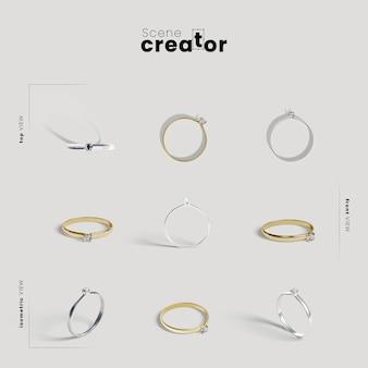 Criador de cena com anéis de noivado