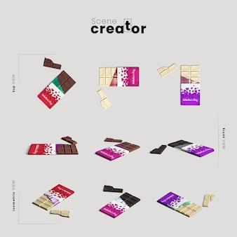 Criador de cena com barra de chocolate
