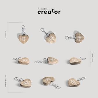 Criador de cena com coração chaveiros