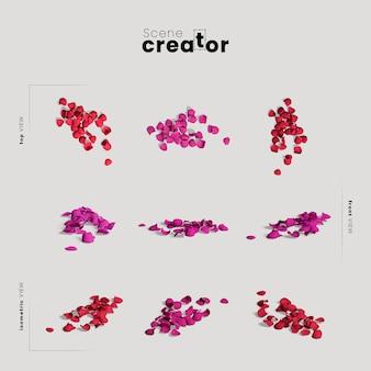 Criador de cena com pétalas coloridas