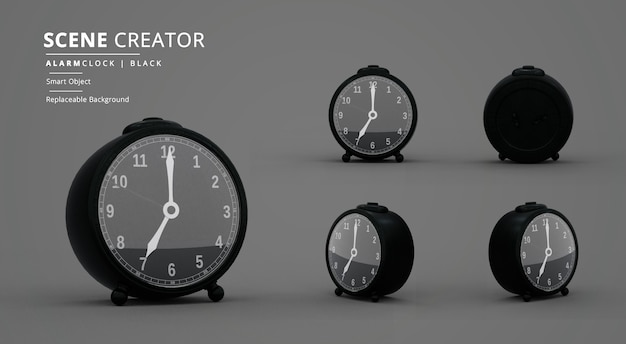 Criador de cena de despertador de mesa redonda preta