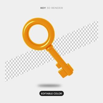 Criador de cena de ícone-chave 3d isolado