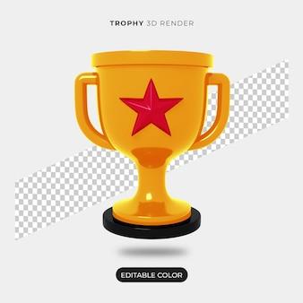 Criador de cena de ícone de troféu 3d isolado