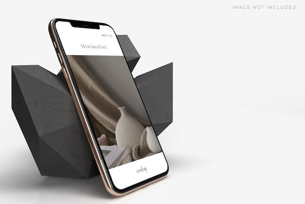 Criador de cena de maquete de smartphone móvel realista. modelo de identidade visual da marca de negócios globais app de design de site