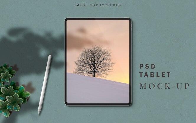 criador de cena do tablet pro mockup com sobreposição de sombra e caneta