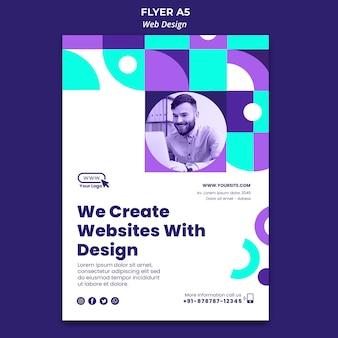 Criamos sites com modelo de folheto de design