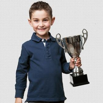 Criança com um troféu