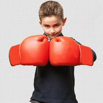 Criança, luta, com, vermelho, luvas boxing