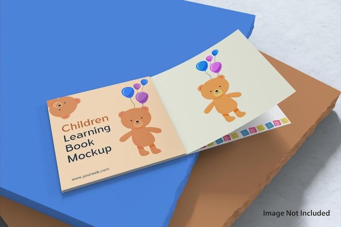 Crianças aprendendo maquete de livro para colorir