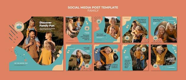 Crianças e pais, família, mídia social, modelo de design de postagens