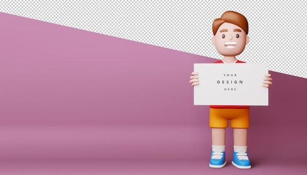 Crianças felizes com tela em branco, tabuleiro vazio em renderização em 3d