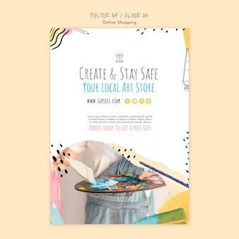 Criar e ficar em casa modelo de cartaz Psd grátis