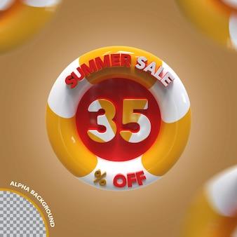Criativo de oferta de 35 por cento da promoção de verão 3d