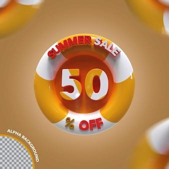 Criativo de oferta de 50% da promoção de verão 3d