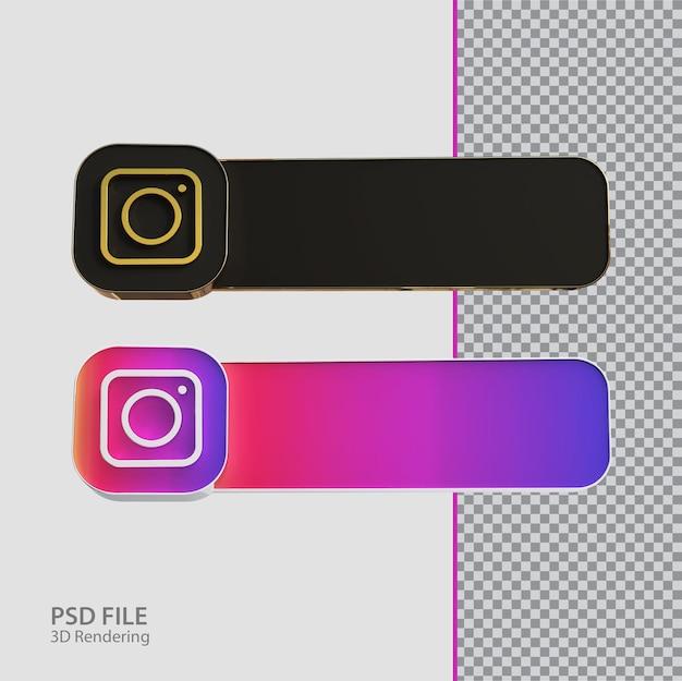 Criativo de rótulo do instagram de mídia social 3d