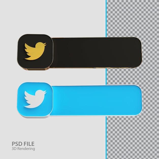 Criativo de rótulo twitter de mídia social 3d