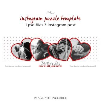 Criativo moderno dia dos namorados romântico instagram modelo de post de quebra-cabeça e foto mockup
