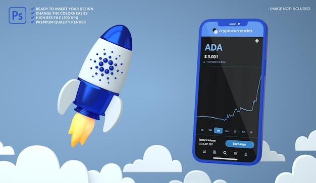 Criptomoeda alta cardano ada em um foguete e uma maquete de tela de telefone em renderização 3d