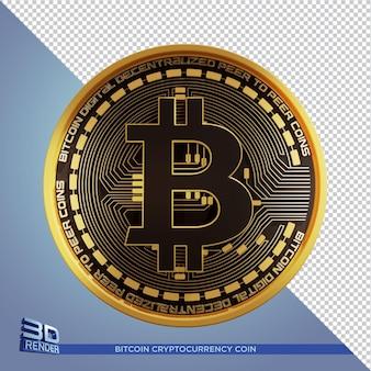 Criptomoeda bitcoin moeda de ouro preto renderização 3d isolada