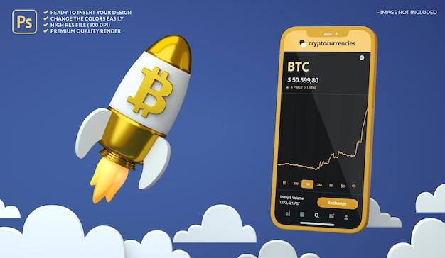 Criptomoeda de alta bitcoin btc em um foguete e maquete da tela do telefone em renderização 3d