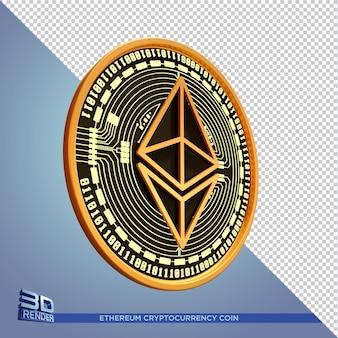 Criptomoeda moeda ethereum de ouro preto renderização 3d isolada