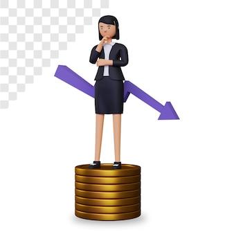Crise financeira 3d com personagem de mulher de negócios e pilha de moedas de ouro