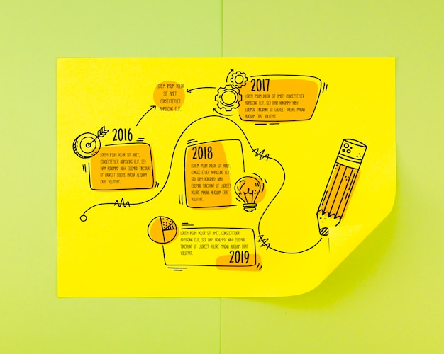 Cronograma desenhado de mão com elementos esboçados