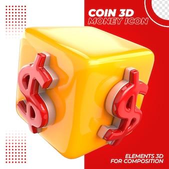Cubo 3d dólar isolado