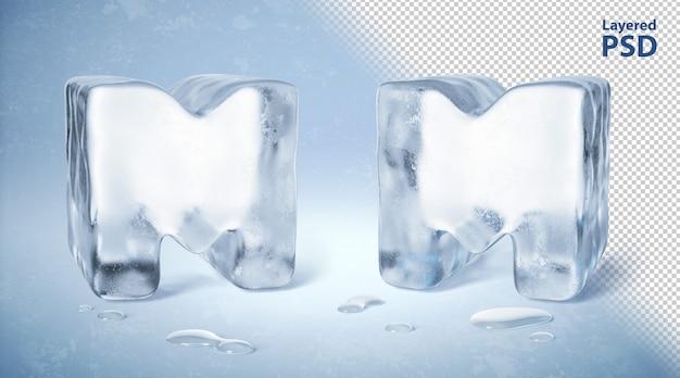 Cubo de gelo 3d rendido letra m