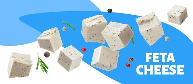 Cubos de queijo feta grego com banner de ervas e especiarias