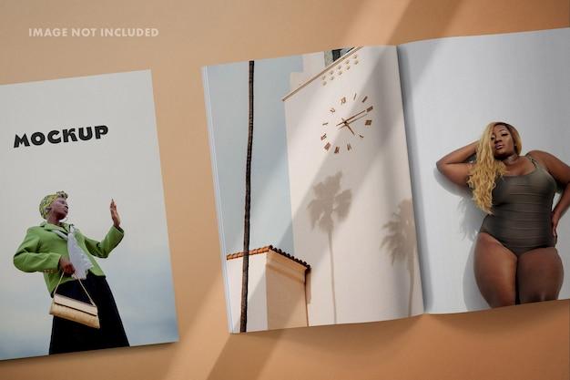 Cubra e espalhe maquete de revista de layout