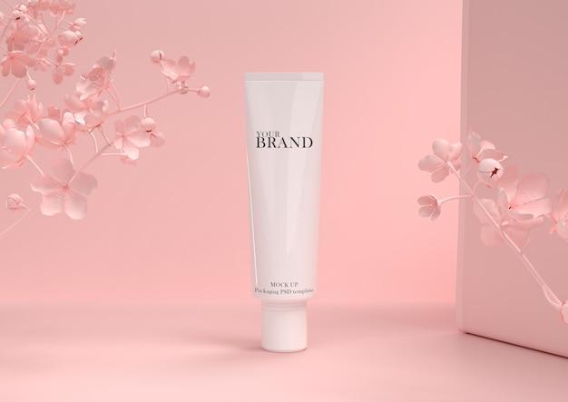 Cuidados com a pele hidratantes produtos cosméticos premium na parede de folhas.