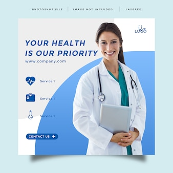 Cuidados de saúde e medicina modelo de promoção de feed de mídia social