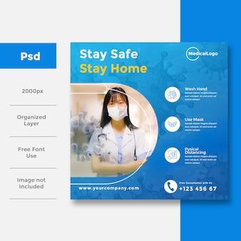 Cuidados de saúde e médicos anúncio em banner de mídia social para covid 19