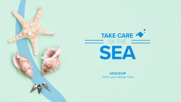 Cuide do oceano com espaço para texto