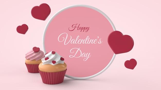 Cupcakes de sobremesa de dia dos namorados com corações vermelhos em ilustração 3d Psd Premium