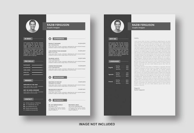 Currículo com modelo de design de carta de apresentação