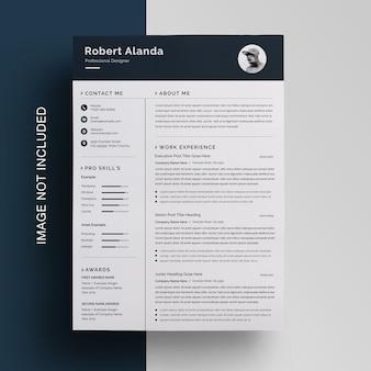 Currículo profissional de negócios com modelo de barra superior