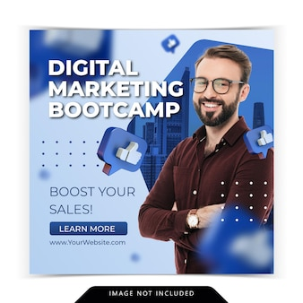 Curso de marketing digital para modelo de postagem no instagram de mídia social